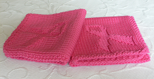 Breast Cancer Dishcloth Knitting Pattern : Ravelry: Pink Ribbon Washcloth/ Breast Cancer Awareness pattern by Marthe Sve...