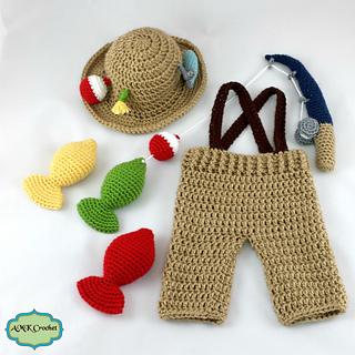 Crochet Pattern Baby Fishing Hat : Ravelry: Newborn Fisherman Outfit pattern by Amanda Kuhn