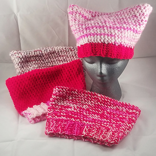 Pattern Knitted Pussy Cat Hat