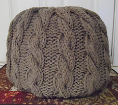 Knitted Ribbing Patterns : Ravelry: Cable Knit Pouf Ottoman pattern by Myra Hollingsworth