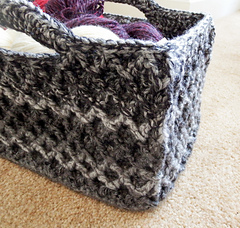 Crochet Rectangle Basket Pattern Free : Ravelry: Rectangular Diamond Trellis Basket pattern by ...