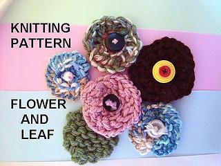 Ravelry: 688 knit flower and leaf, beginner level pattern by Emi Harrington