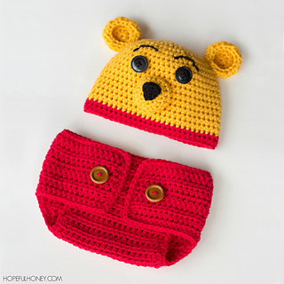 Crochet Pooh Bear Hat Pattern : Ravelry: Winnie The Pooh Hat & Diaper Set pattern by ...