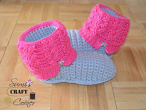 Kids Kickin Cables Slipper Pattern A Crocheted Simplicity