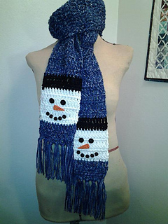 Ravelry Snowman Scarf Pattern By Laura Brozo