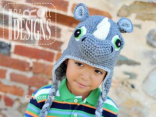 Riley Crochet Baby Hat Pattern : Ravelry: Riley Rhino the Rhinoceros Hat pattern by Ira Rott