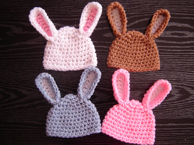 Crochet Bunny Hat With Flower Pattern : 365 Crochet