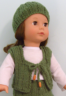 Free Knitting Pattern For Doll Hat : Ravelry: American Girl Doll Hat & Waistcoat pattern by Jacqueline Gibb