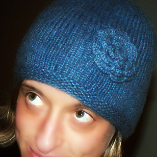 Free Knitting Pattern Garter Stitch Hat : Ravelry: Knitted Hat With Garter Stitch Brim and Flower ...