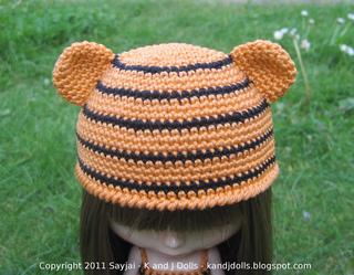Crochet Hat Pattern For Blythe : Ravelry: Tiger Hat and Dress For Blythe Dolls pattern by ...