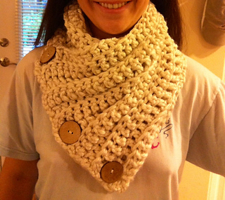 Free Crochet Pattern Button Scarf : Ravelry: 3 Button Crochet Cowl pattern by Maria McClung