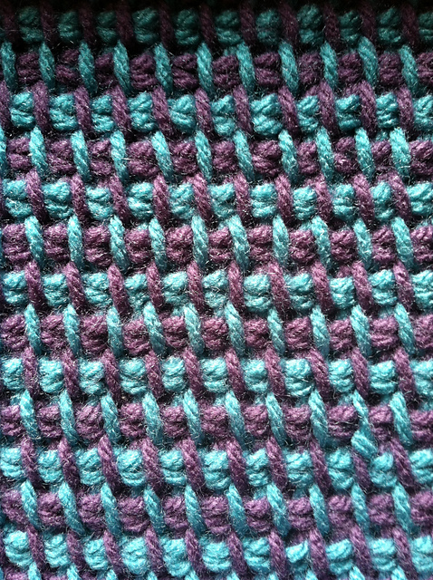 Crocheting With Two Colors : ... squares that I made last week. It is tunisian crochet (simple stitch