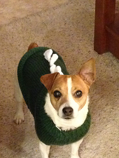 Knitting Pattern For Jack Russell Dog Coat : Ravelry: Dinosaur Doggy Sweater - Jack Russell pattern by Linda Hurst