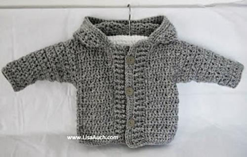 Crochet baby cardigan crochet hooded sweater medium