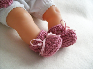 Knitting Pattern For Doll Booties : Ravelry: Corolle Doll Stay-on Booties pattern by Charlotte Bouchet