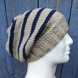 Knit Hat Pattern Round : Ravelry: CAMPUS Striped Slouchy Beanie Knit Round pattern by Anna Artesana