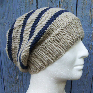 Beanie Knitting Pattern Straight Needles : Ravelry: CAMPUS Striped Slouchy Beanie Knit Round pattern by Anna Artesana