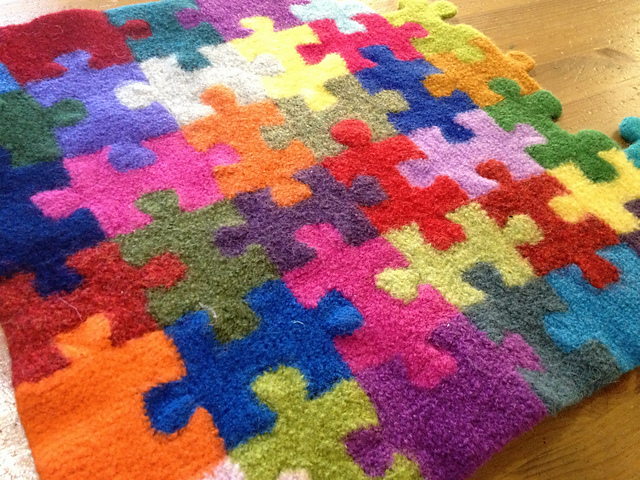 Megan Ellinger, knitting, blanket, felted, puzzle