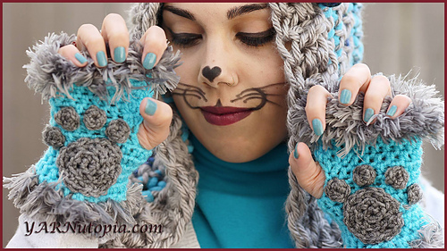Ravelry Cat Paw Fingerless Gloves Pattern By Nadia Fuad