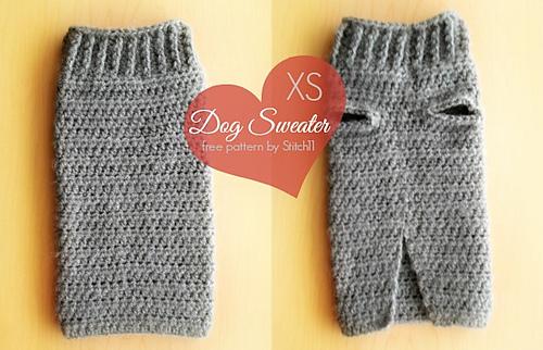 Knitting Pattern For Medium Dog Sweater : Ravelry: XS Dog Sweater pattern by Corina Gray