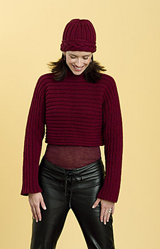 Horizontal Rib w/Cable Neck Pullover PDF