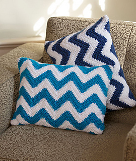 Free Crochet Patterns For Small Pillows : Ravelry: Chevron Pillow Pair pattern by Marianne Forrestal