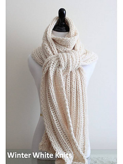 Ravelry: Winter White Ribbed Knit Scarf /Shawl pattern by Winter White Knits