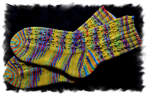 Drunken Ribs Toe Up Socks by Wilma Becker