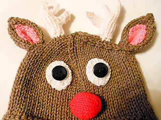 Knitting Pattern For Reindeer Hat : Ravelry: Rudolph Reindeer Hat knit pattern by Wistfully Woolen