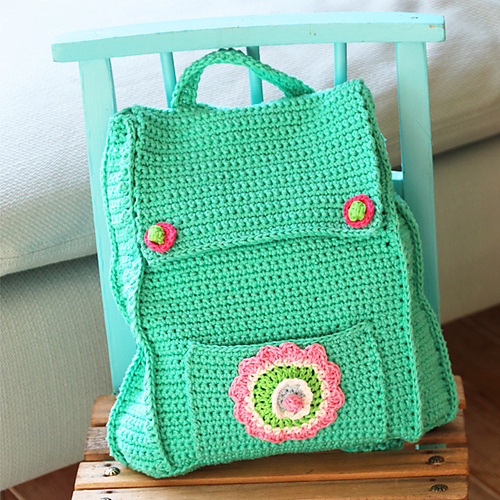 Crochet Patterns For Kids Bags : Kids Backpack -free crochet pattern-
