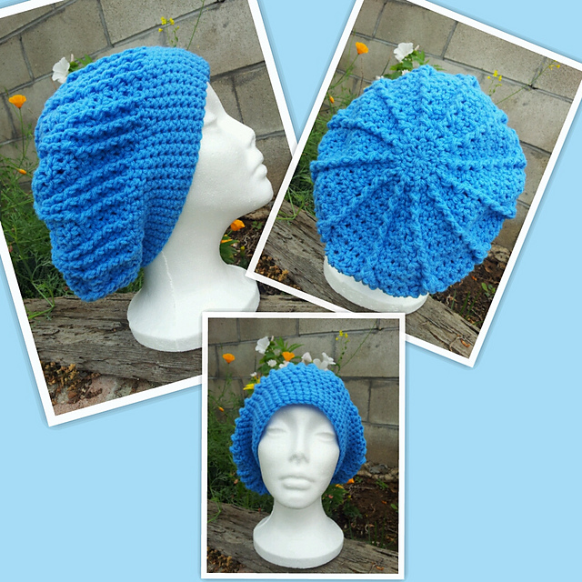 adult ridged star slouch crochet hat pattern