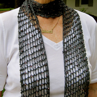 Ravelry: Knotty Knitted Beaded Mesh Scarf pattern by Linda Lehman