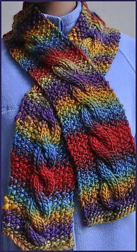 Knitting Pattern For Yarn Over Scarf : Ravelry: Chunky Mochi Cable Scarf pattern by Susan Druding