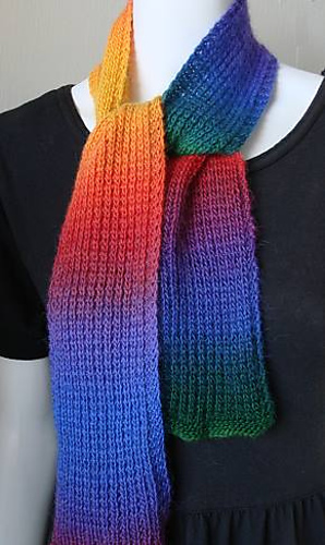 Knitting Pattern For Rainbow Scarf : Ravelry: Mini Mochi Rainbow Scarf pattern by Susan Druding