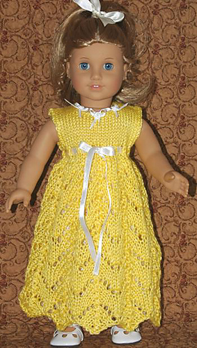 Free Knitting Patterns Doll Clothes American Girl : Ravelry: American Girl Doll Empire Waist Lace Dress ...