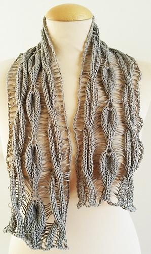 Ravelry: Linen Scarf Cable Drop Leaf pattern by Jen Giezen