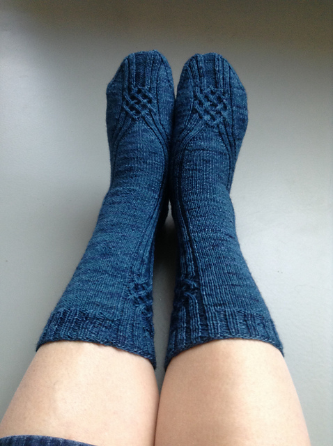 Diamond Shreddies sock knitting by Carrie Van Kessel