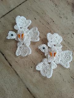 Ravelry Crochet Dove Applique Using Crochet Shells