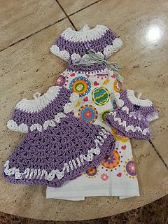 Ravelry Easy Beautiful Dress Towel Topper Set Pattern By