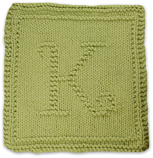 Knitted Dishcloth Pattern With Letters : Ravelry: Monogrammed Dishcloth Letter K pattern by Heather ...