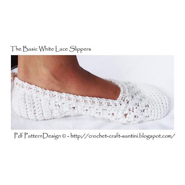 钩针:一、汤姆斯的白色花边拖鞋 - maomao - 我随心动
