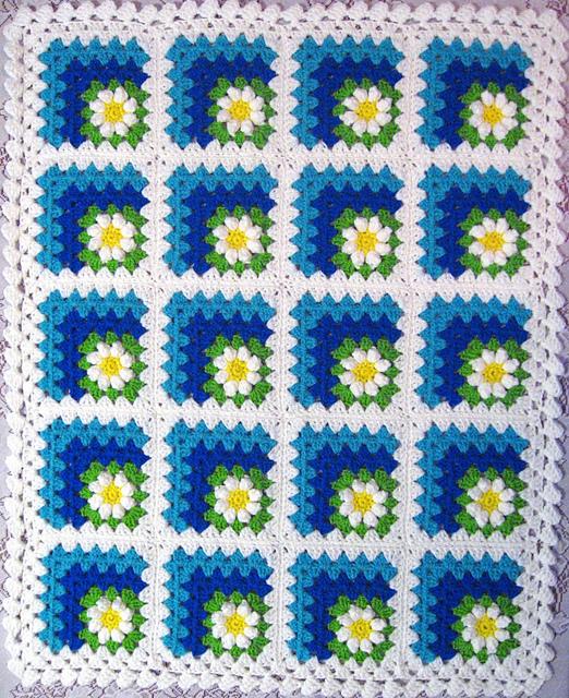 Бабушкин квадрат вязание спицами 89