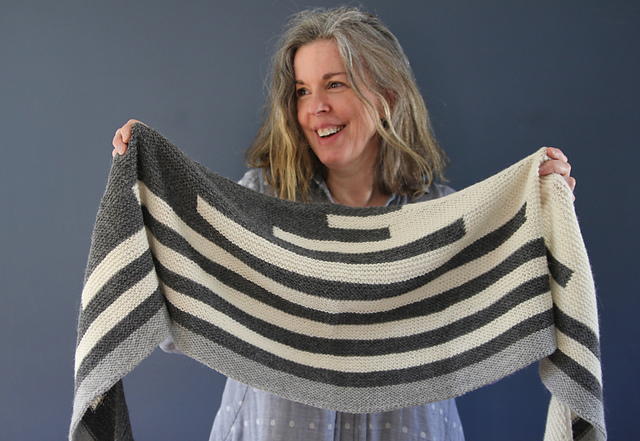 Alanna Nelson knits modern striped scarves
