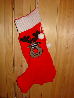 Christmas Stocking Knitting Pattern 2 Needles : Ravelry: Christmas Rudolph Reindeer Stocking Knitting ...