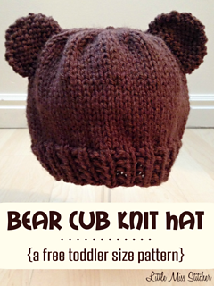 ravelry bear cub toddler hat pattern by little miss stitcher. Black Bedroom Furniture Sets. Home Design Ideas