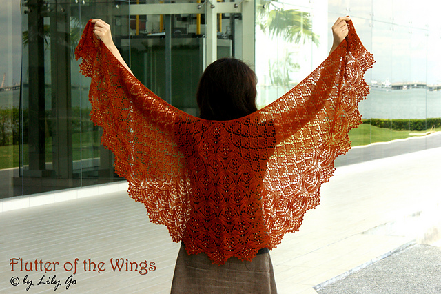 Lilygo Flutter Of The Wings Shawl Knitting Pattern And Kit For Sale