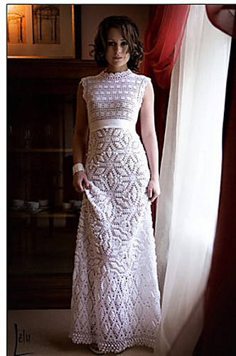 Busy fingers busy life friday find say yes to the for Crochet wedding dress patterns