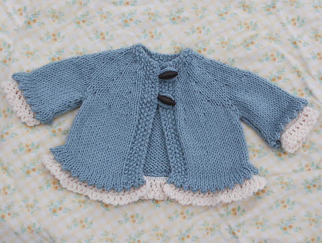 Little Miss Madeline baby sweater free knitting pattern