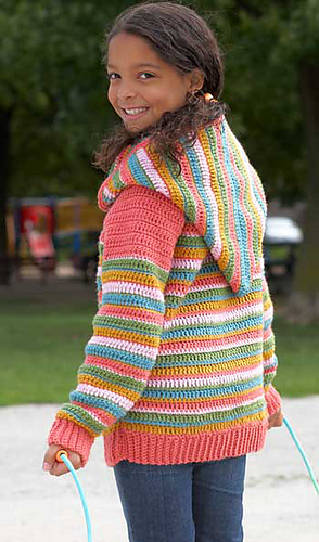 Free Crochet Pattern Hooded Sweater : Ravelry: Joy Stripes Hoodie pattern by Patons