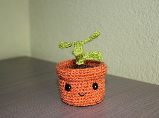 http://www.ravelry.com/projects/misshendrie/pull-and-grow-amigurumi-plant